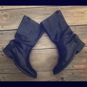 Camper leather buckle mid-calf boots size 39 black